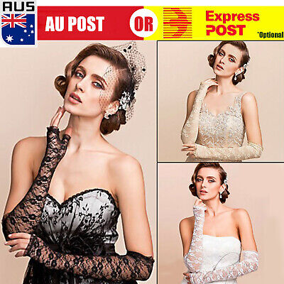 Ladies Stretchy Lace Fingerless Long Gloves Sunblock Bridal Party Wedding D