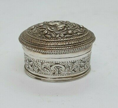 Antique Burmese Silver Lime Box, Animal And Floral, Shan States, Late 19Th C