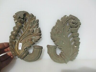 Vintage Brass Ormolu Hardware Mount Old Antique Antique Wreath Drapes Flower