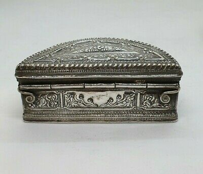 Antique Burmese Silver Half-Moon Lime Box, Very Fine, Shan States, Late 19Th C