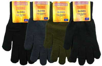 New Men's Thermal Acrylic Spandex Knitted Winter Warm Gloves by Handy Glove Gift