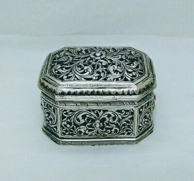 Antique Burmese Silver 8-Sided Lime Box, Pierced, Shan States, Late 19Th C