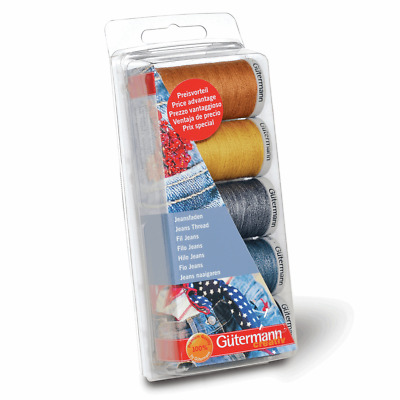 Gutermann 3 x 100m 2 x 200m Jeans Sewing Thread Assorted Box Set Pack