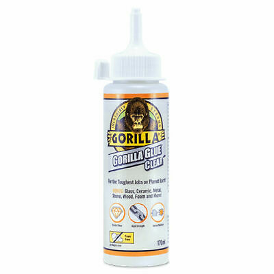 GORILLA GLUE 1244501 CLEAR GLUE FOR VIRTUALLY INVISIBLE FIXES 170ML BOTTLE x 6