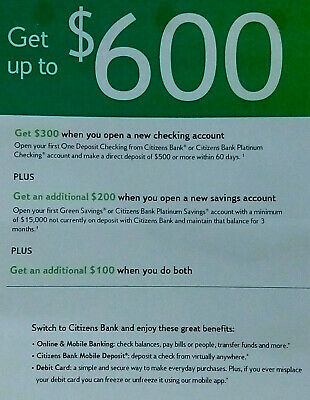 Citizens Bank offer promotion promo for up to $600 exp 11/20/2019
