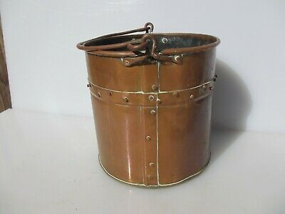 Victorian Copper Coal Bin Bucket Tub Rivets Handle Old Planter Antique French