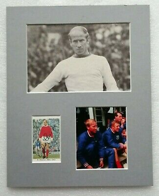 BOBBY CHARLTON MANCHESTER UNITED ENGLAND 1966 SIGNED MOUNTED DISPLAY 10x8 STAR