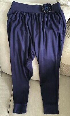 Harem Style Trousers Girls Age 6-7 Years Blue With Flower Detail George