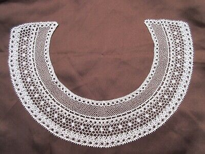 Antique Vintage lace collar hand made bobbin lace Ivory pristine