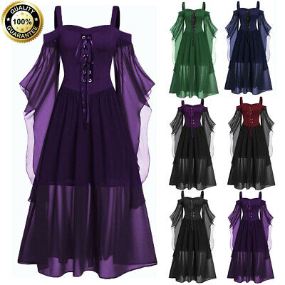 Womens Plus Size Cold Shoulder Butterfly 3/4 Sleeve Lace Up Halloween Long Dress