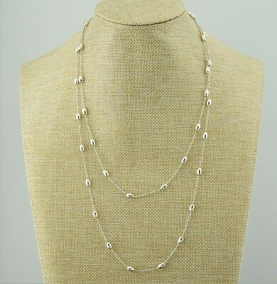 """Silpada N3019 Sterling Silver BELLA Oval Bead Station Necklace 44"""""""