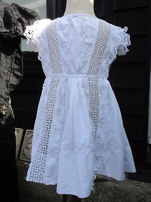 Antique Victorian Edwardian childs white cut work & broderie anglaise dress