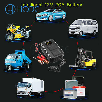 Car Battery Lead Acid Charger Automobile 12V 20A Intelligent LCD UK