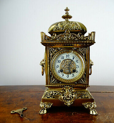 Antique Victorian French Brass Cube Mantel Clock by Japy Freres 8 Day Striking