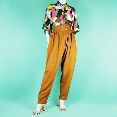 VINTAGE 80's 90's Tan Brown Yellow Pleat High Waist Grunge Trousers Pants S 8 10