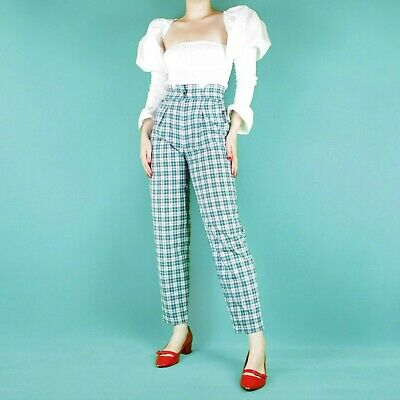 VINTAGE 80's 90's Grunge Blue White Check Pattern High Waist Trousers Pants S 8