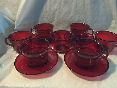 11 Piece Vintage Arcoroc France Ruby Red Cups and Saucers