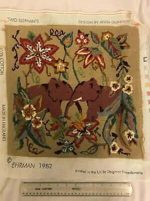 Ehrman Two Elephants Nearly Completed Needlepoint 1982 Deighton Anita Gunnett