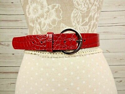 Marks & Spencer Red Mock Croc Snakeskin Patent Faux Leather Belt Size Small