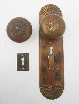 Antique 1895 Corbin PUTNAM Bronze Door Knob Set, Plate & Escutcheon