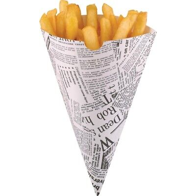 Pack of 100 Disposable Thick paper Newspaper Chip /Fries cones with chip forks