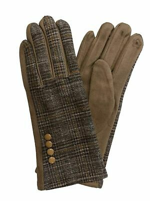 Womens Brown & Tan Plaid Stretch Fit Texting & Tech Touchscreen Gloves