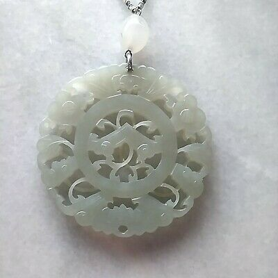 18th Century Carved Nephrite White Jade Genuine On platinum Chain Qing Dynasty