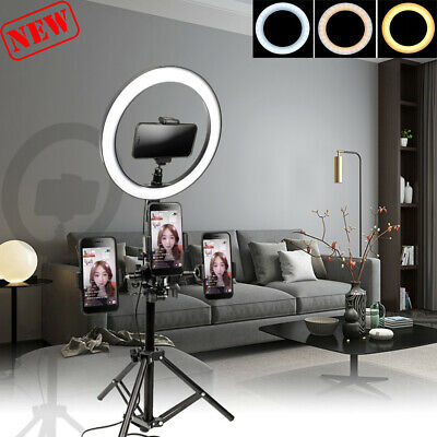 Dimmable LED Selfie Ring Light  With Tripod Phone Clip Holder for Making Videos