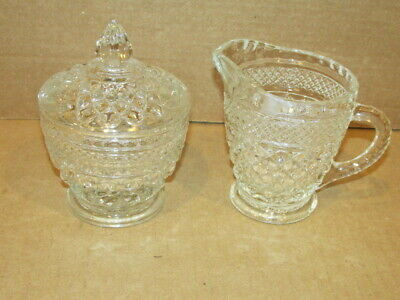 Vintage Anchor Hocking Wexford Creamer and Covered Sugar. VFC