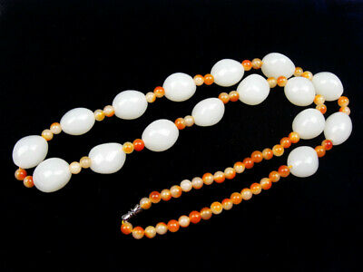 White Jade Beads Crafted Tibetan Tribal Lady's Necklace #07151805