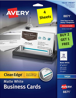 """[3 Sheets] Avery 8871 White Business Cards 2"""" x 3 1/2"""" (10 cards per sheet) B2G1"""