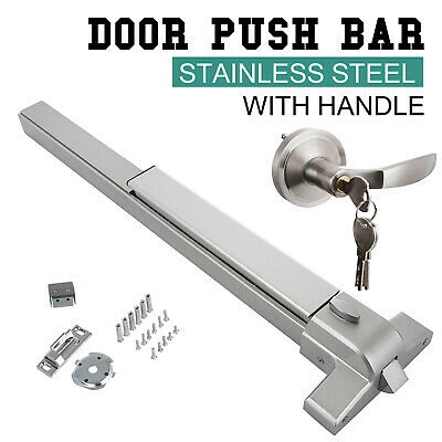 Heavy Door Push Bar Panic Exit Device Stainless Steel Emergency Lock W/ Handle