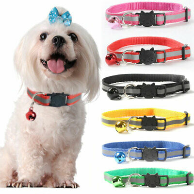 Adjustable Reflective Nylon Cat Safety Collar with Bell for Kitten A6+