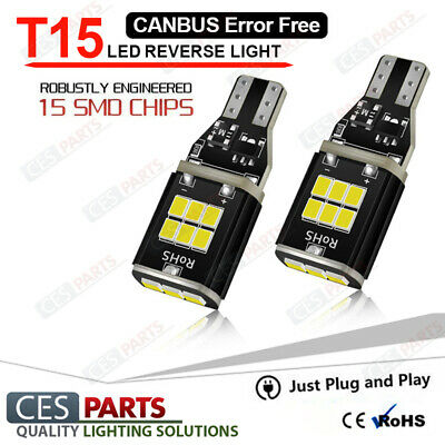 2x 15smd T15 W16W Reverse LED Cree White 6000K Canbus Toyota Auris 2010-2016