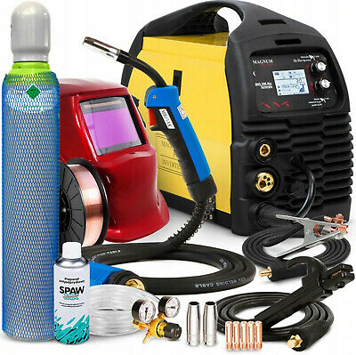 MIG WELDING SET Welder Inverter machine Bottle Helmet Wire MAGNUM MIG 208 200A