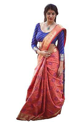 Womens Patola Pink And Blue Silk Saree With Blouse PC1_5