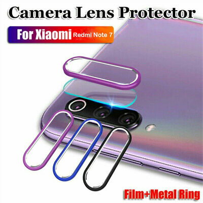 For Xiaomi Redmi Note 7 Camera Lens Protector Metal Ring Cover + Glass Film A79