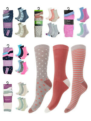 Womens Multi Pack Bamboo or Cotton Blend Soft Coloured Ankle Socks Ladies New