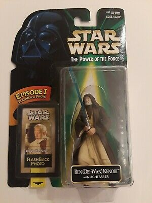 Star Wars Power of the Force PotF Ben Obi-Wan Kenobi w/ Lightsaber Episode 1 New