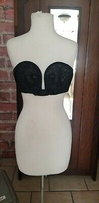 Vtg Black Strapless circle stitch BALI THE BOW BRA OverWire Sheer Lace Cups 34 B