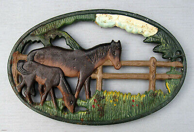 Vintage Hand Painted Cast Iron Horse W/Foal In Fenced Pasture Trivet/Hot Plate