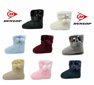 New for 2019 Dunlop, Womens Ladies Slipper Boots, Knitted Upper with Pom Poms