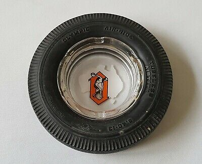 Vintage C1960'S Olympic Air-Ride Tyres Ashtray - Rubber With Glass Insert