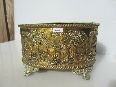 Victorian Brass Trough Tub Planter Plant Pot Antique Old Hunting Scene Stag Deer