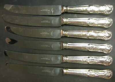 Vintage Set Of 6 Silver Plated Kings Pattern Dinner Knives - P Marks Sheffield