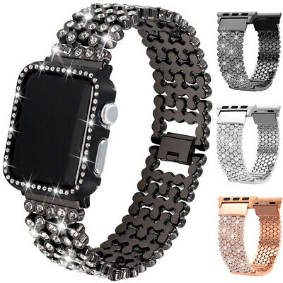 For Apple Watch iWatch 5 4 Band Bracelet Diamond Bling Metal Strap 38/40/42/44mm