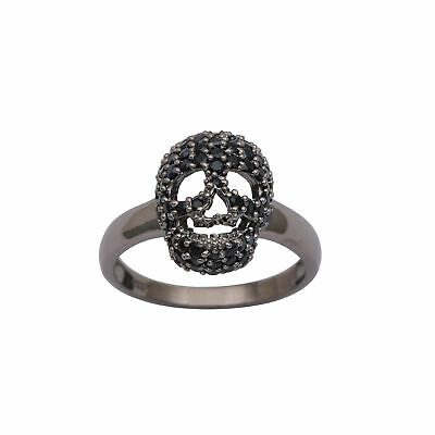 925 Sterling Silver Black Spinel Skull Face Design Ring RI3006
