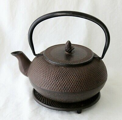 Antique Japanese Cast Iron Marked Tea Pot With Stand