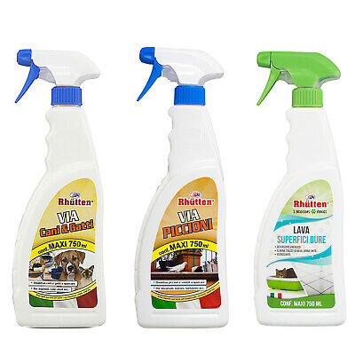 Kit Pulisci e Disabitua Spray Repellente Via Cani e Gatti, Piccioni e Superfici