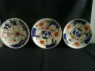 3 Georgian China Creamware Lustreware Gaudy Welsh Saucers c1830